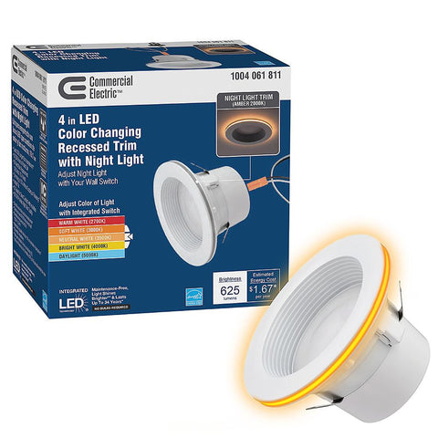 4 in. LED Recessed Trim Can Light with Night Light Feature (NEW)