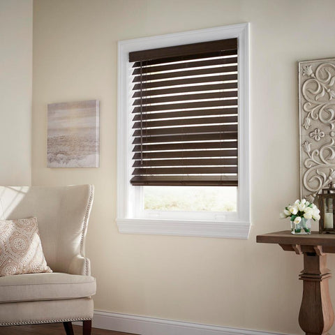Espresso Cordless 2-1/2 in. Premium Faux Wood Blind - 72 in. W x 64 in. L (Actual Size - 71.5 in. W x 64 L)