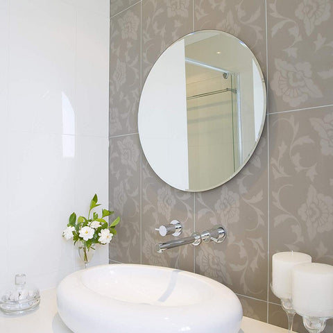 "42"" Inch Round Beveled Polished Frameless Wall Mirror with Hooks"