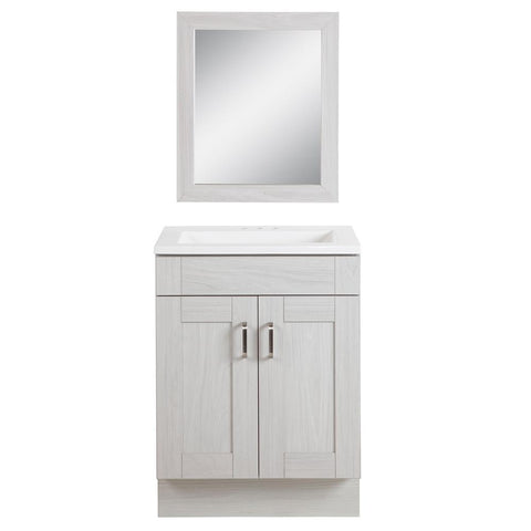 Arla 24 in. Bathroom Vanity in Elm Sky with Cultured Marble Vanity Top in White with White Sink and Mirror