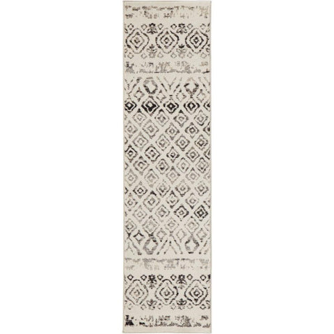 Ivory runner rug with 1/3 inch thickness Southwestern design with global pattern, indoor only Great for kitchen or living room.