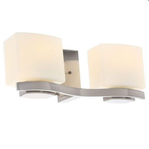 Launchpad Liquidation 2-Light Brushed Nickel Vanity Light with Etched White Glass Shades