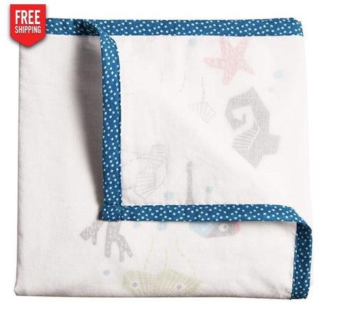 Launchpad Liquidation Baby Product Sea Animals Nursery works organic three layer blanket