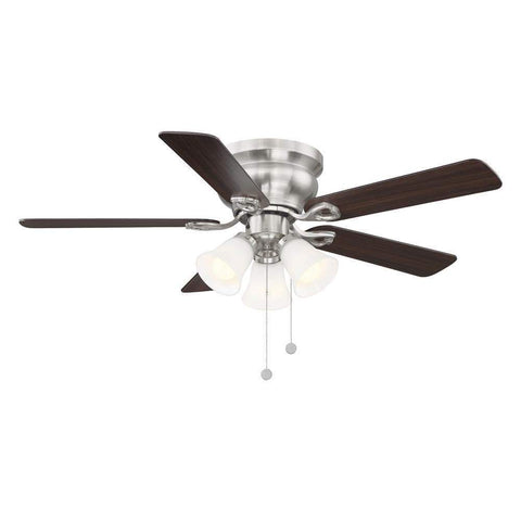Launchpad Liquidation Clarkston II 44 in. LED Indoor Brushed Nickel Ceiling Fan with Light Kit