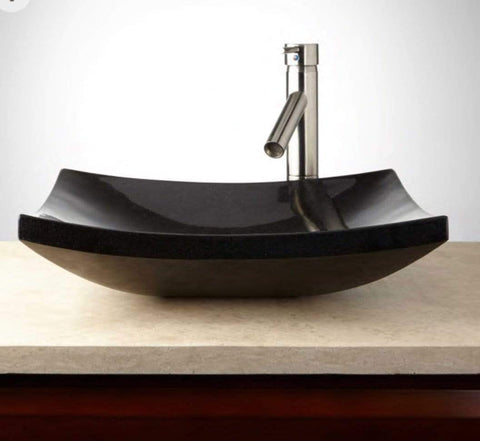 Launchpad Liquidation Curved Square Absolute Black Granite Vessel Sink