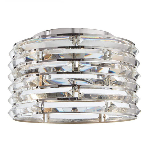Launchpad Liquidation Decor Living Avant 2-Light Curved Crystal and Chrome Flush Mount