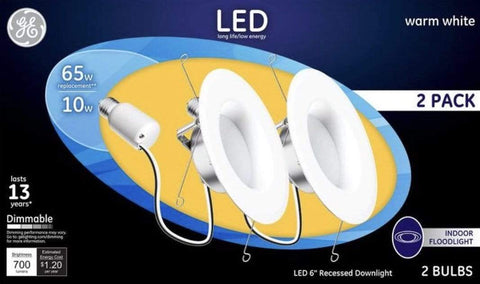"Launchpad Liquidation G E LIGHTING 6"" Soft White Recessed Kit (2 Pack"