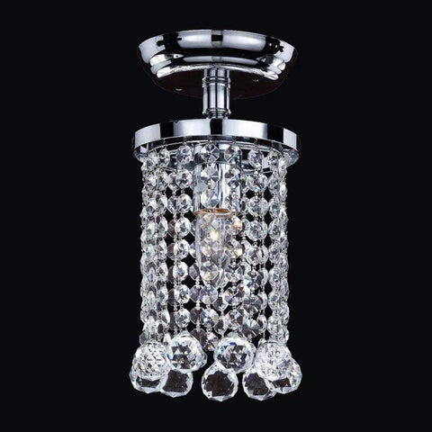 Launchpad Liquidation Glow Lighting Omni 5.5-in W Silver pearl Crystal Semi-Flush Mount Light