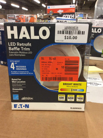 Halo LED Retrofit Baffle Trim 4in Bright White - Launchpad Liquidation