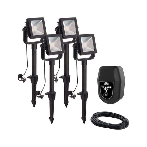 Launchpad Liquidation Hampton Bay Low Voltage Black Outdoor Integrated Led Landscape Flood Light (4pk)