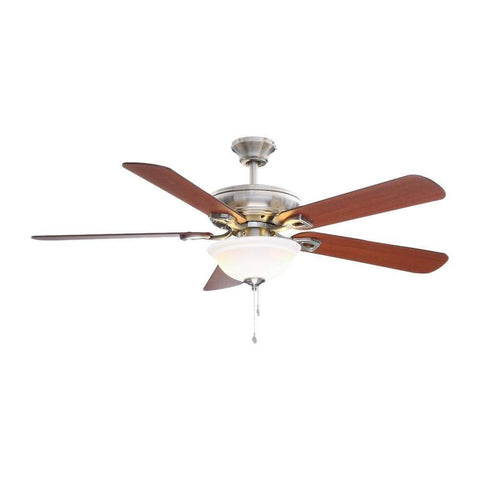 Launchpad Liquidation Hampton Bay Rothley 52 in. LED Brushed Nickel Ceiling Fan with Light Kit