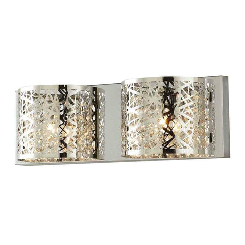 Launchpad Liquidation Home Decorators Collection Carterton 2-Light Chrome Vanity Light with Crystal Ac