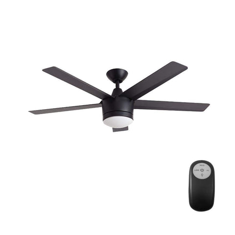 Launchpad Liquidation Home Decorators Collection Merwry 52 in. Integrated LED Indoor Matte Black Ceiling Fan with Light Kit and Remote Control
