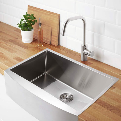 Launchpad Liquidation Kitchen Sink, 36-inch Apron-front Farmhouse Stainless Steel Single Bowl (Open Box)