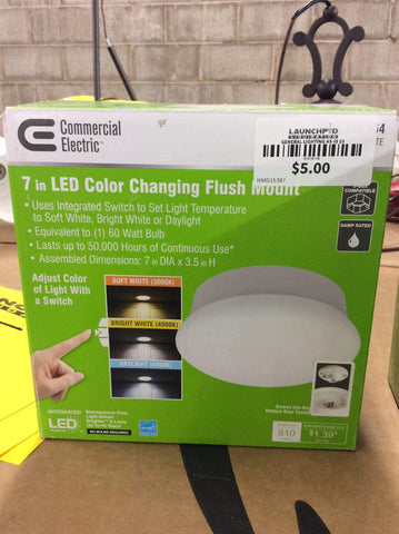 Launchpad Liquidation Lighting Commercial Electric 7in Color Changing LED Flush Mount
