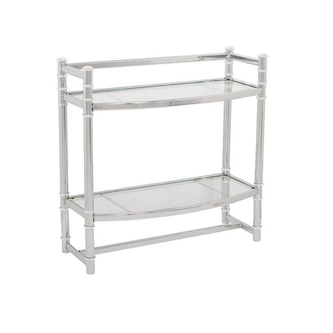 Launchpad Liquidation Wall Shelf, in Chrome, with Tempered Glass Shelves