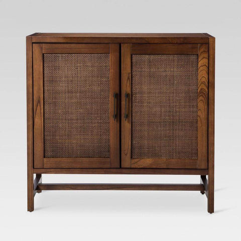 Launchpad Liquidation Warwick 2-Door Wood & Rattan Accent Cabinet