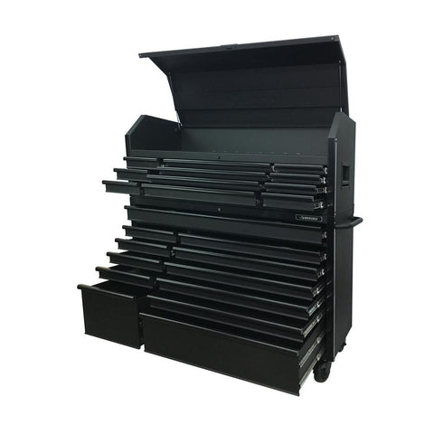 Husky 56 in. Tool Chest and Rolling Cabinet Set in Matte Black