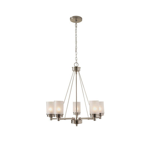 5-Light Brushed Nickel Chandelier with Frosted Glass Shades (USED-LIKE NEW)
