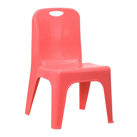 Hover Image to Zoom Red Plastic Stackable School Chair with Carrying Handle and 11 in. Seat Height by Flash Furniture