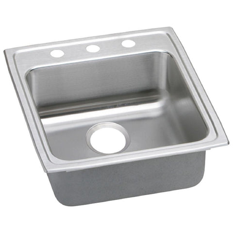 Lustertone Drop-In Stainless Steel 20 in. 3-Hole Single Bowl ADA Compliant Kitchen Sink with 6.5 in. Bowl