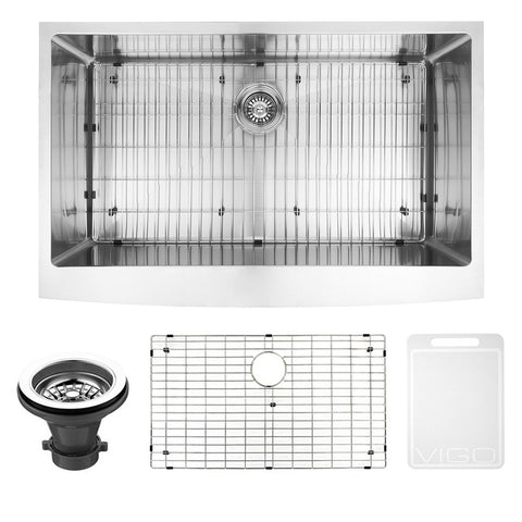 Bedford Farmhouse Stainless Steel 36 in. 0-Hole Single Bowl Kitchen Sink with 1 Grid, 1 Strainer in Stainless Steel