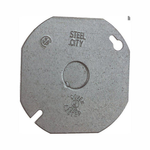 Steel City 4 in. Octagon Flat Metal Electrical Box Cover with 1/2 in. Knockout (Case of 25)