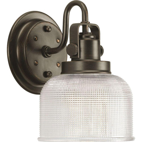 Hover Image to Zoom Archie Collection 1-Light Venetian Bronze Bath Sconce with Clear Prismatic Glass Shade