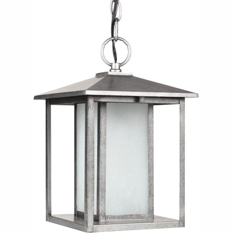Hover Image to Zoom Hunnington 1-Light Outdoor Weathered Pewter Ceiling Mount Hanging Pendant Fixture by Sea Gull Lighting