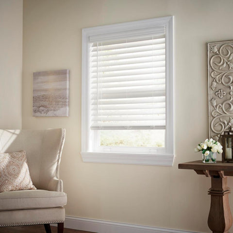 White Cordless 2-1/2 in. Premium Faux Wood Blind - 52 in. W x 64 in. L (Actual Size - 51.5 in. W x 64 L)