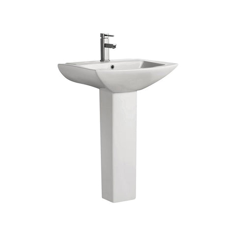 Sublime Pedestal Bathroom Vessel Sink Round Single Faucet Hole in White