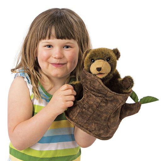 Bear in Tree Stump Puppet