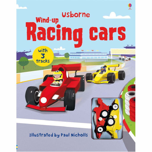 usborne wind up racing cars book cover
