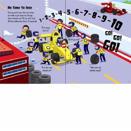 usborne wind up racing cars book inside
