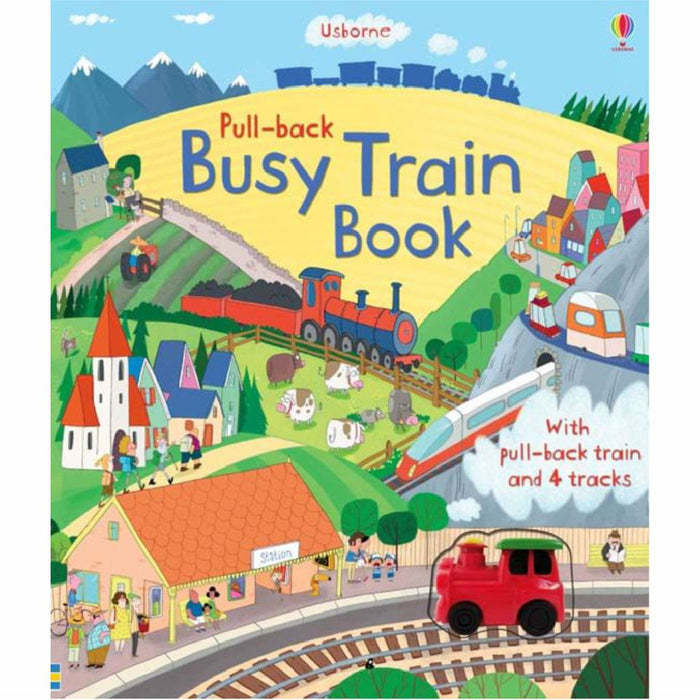 usborne pull back busy train book cover