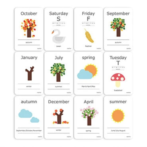 Cognitive Flash Cards - Days and Seasons