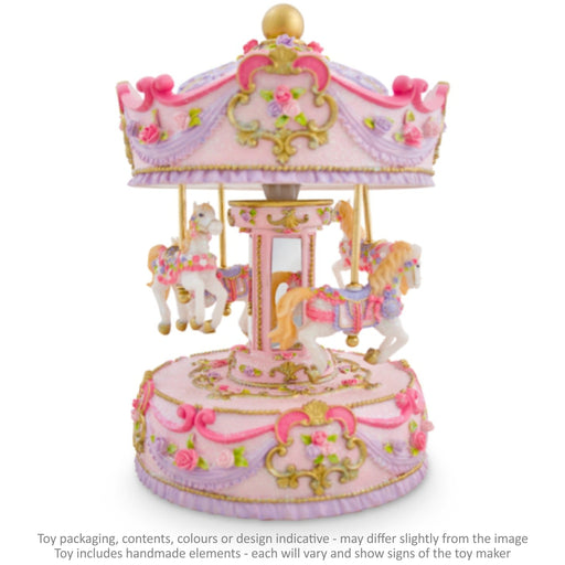 Musical Carousel - Pink and Mauve with Mirrors and 4 Horses / 24 cm
