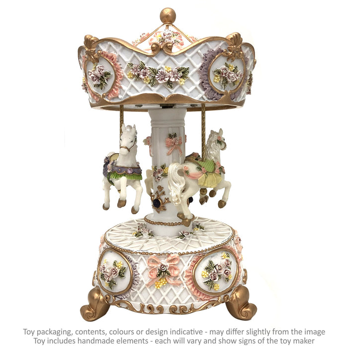 Musical Carousel - White with 3 Horses / 21 cm