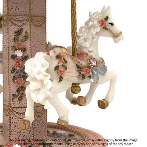 Musical Carousel - Dusty Pink with 3 Horses / 22 cm