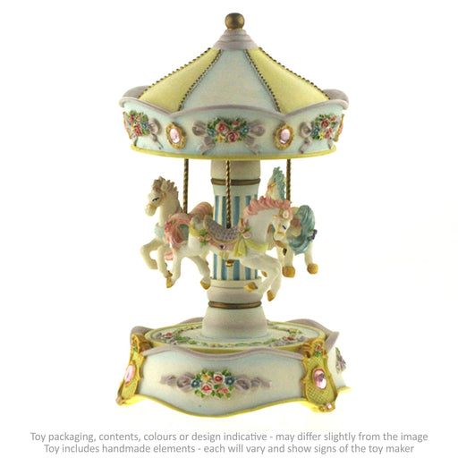 Musical Carousel - White and Gold with 3 Horses / 21 cm