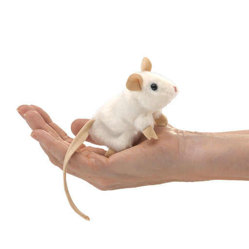 Mini White Mouse Finger Puppet