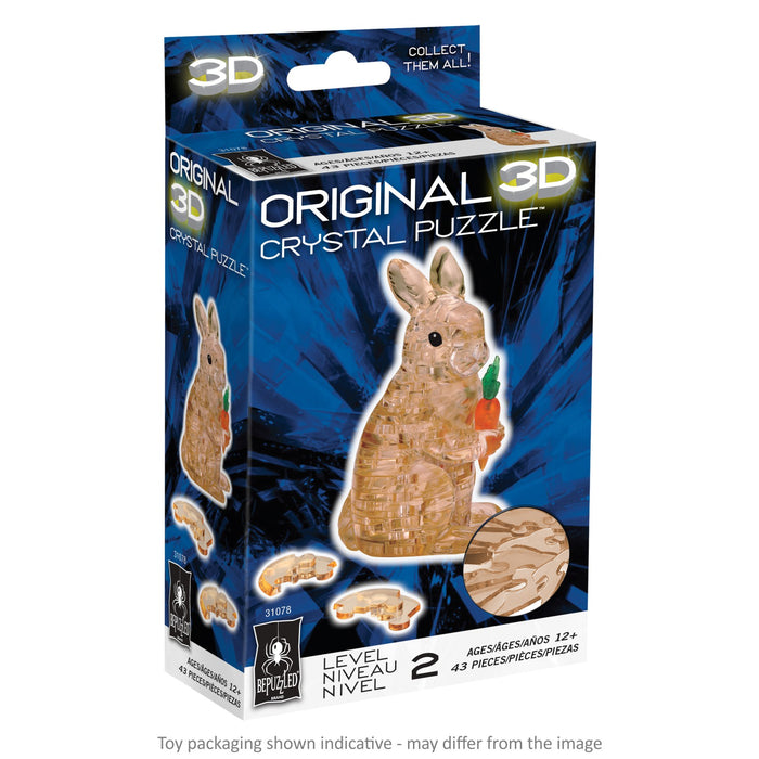 3D Crystal Puzzle - Rabbit / Brown / 41 pcs