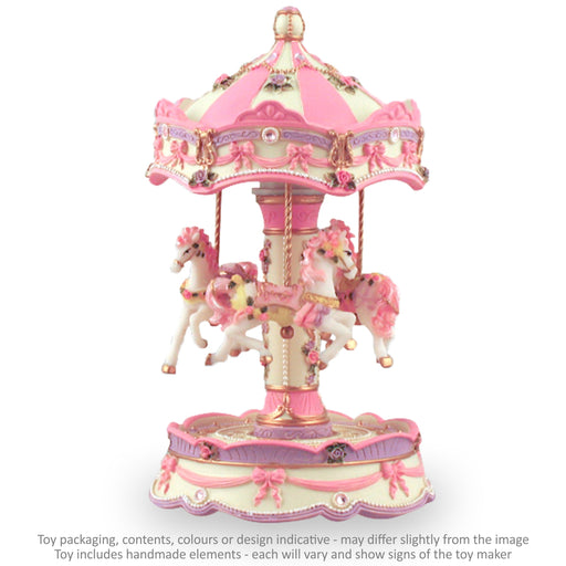 Musical Carousel - White Pink and Mauve with Gems and 3 Horses / 21 cm