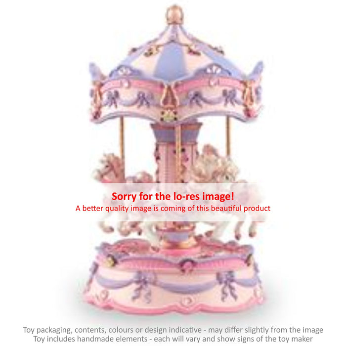 Musical Carousel - Pink and Mauve with Gems and 3 Horses / 21 cm