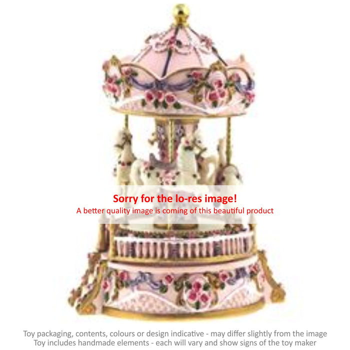 Musical Carousel - Flowery Pink with Steps and 4 Horses / 15 cm
