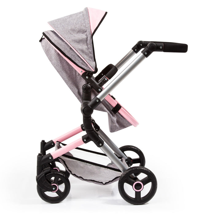 City Vario Doll Pram with Grey Denim and Pink Trim
