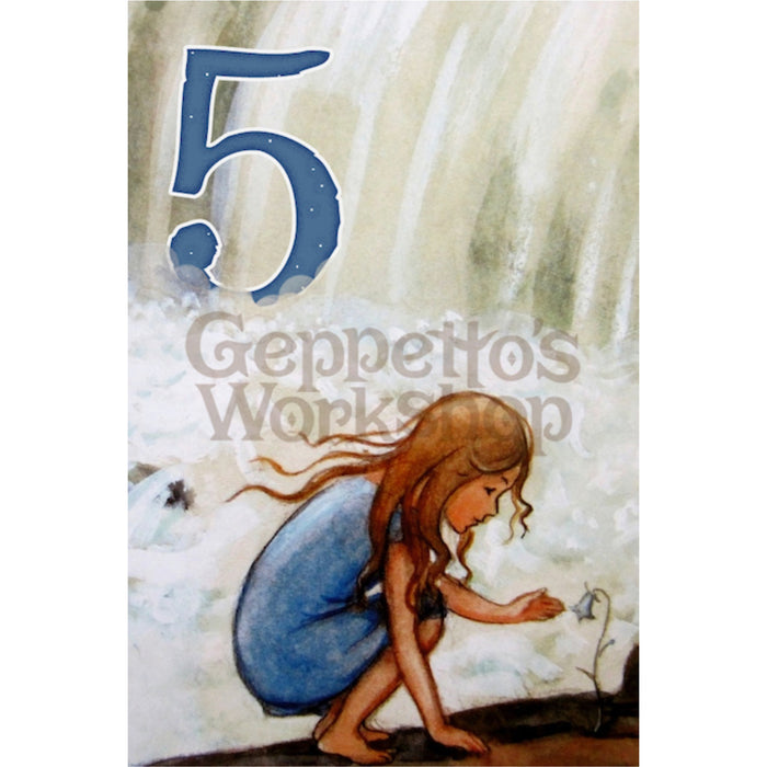 Greeting Card - Girl at Waterfall with Flower / Age 5