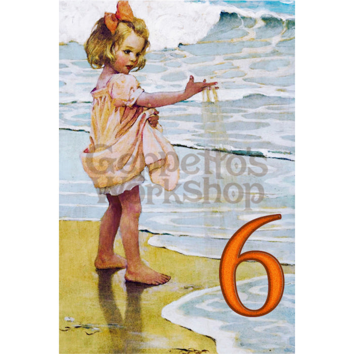 Greeting Card - Girl at the Beach / Age 6