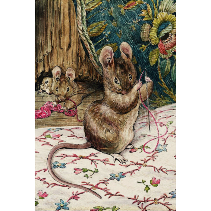 Greeting Card - The Mice at Work Threading the Needle