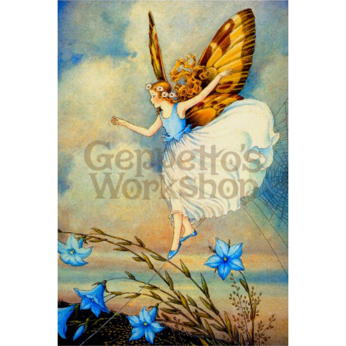 Greeting Card - Blue Butterfly Fairy with Web